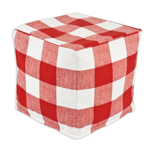 Anderson Red Zippered Beads Pouf