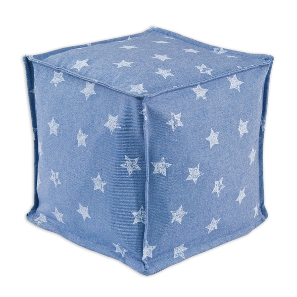 Denim Stars Zippered Beads Pouf