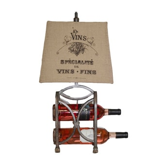 """Somette 12"""" rectangle burlap with french silk screen print shade Lamp"""