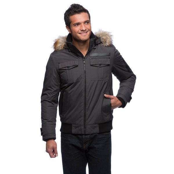 Sean John Men's Water Resistant Jacket with Faux Fur Trim Hood