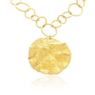 Belcho Gold Overlay Large Textured Passion Wave Pendant Necklace
