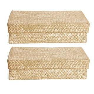 Whitewash Seagrass-reed Basket with Lid (Set of 2)