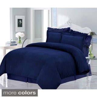 Luxury 200-GSM Solid Flannel 3-piece Duvet Cover Set