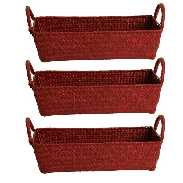 Wald Imports Set Of  Burgandy Seagrass Reed Baskets