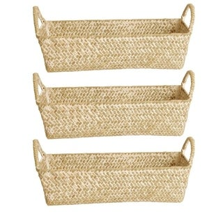 Whitewash Seagrass-reed Basket (Set of 3)