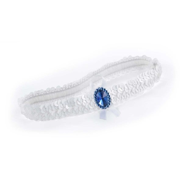 White/ Blue Sequin Garter