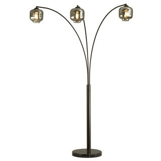 Nova Lighting Thomas 3-Light Arc Lamp with Old-Style Edison Bulbs