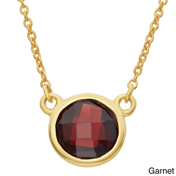 Gioelli Gold Plated Sterling Silver 8mm Checkerboard Gemstone Chain Necklace