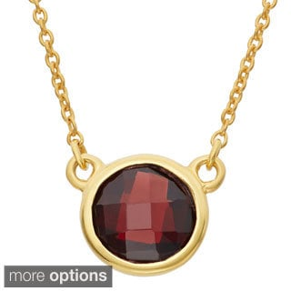 Gold Plated Sterling Silver 8mm Checkerboard Gemstone Chain Necklace