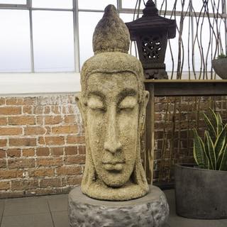 Antiquated Ecru Serene Head Decorative Sculpture (Indonesia)