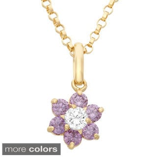 Junior Jewels 14k Gold Cubic Zirconia Flower Pendant Necklace