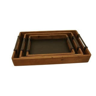 Wald Imports Wood and Chalkboard Trays (Set of 3)