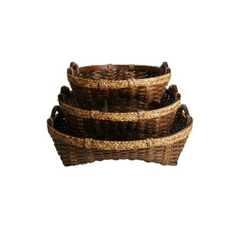 Woven Wood Strip Decorative Trays (Set of 3)