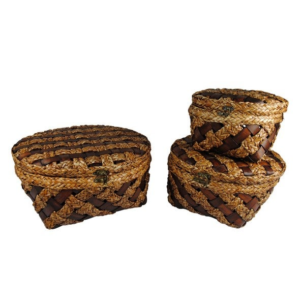 Woven Wood Strip Baskets (Set of 3)