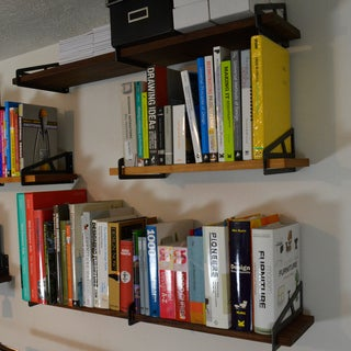 Art Kieres Truss Steel and Solid Walnut or Cherry Wood Bracket Shelf