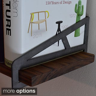 Art Kieres Truss 52-inch Steel and Solid Walnut or Cherry Wood Bracket Shelf