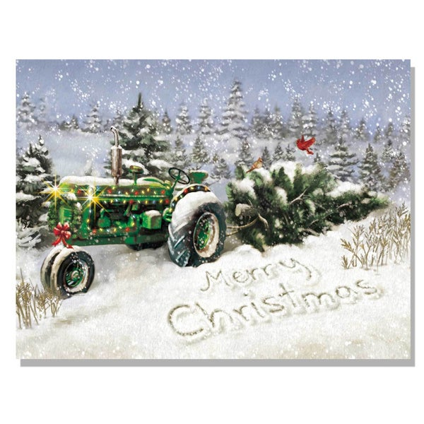 Lighted Christmas Tree Tractor Canvas Art