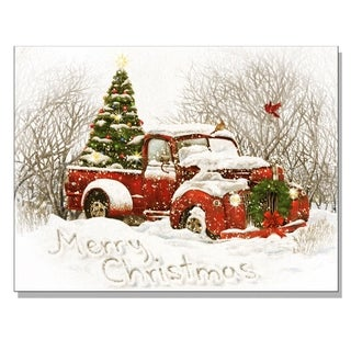 'Vintage Christmas Tree Truck' Lighted Canvas Art
