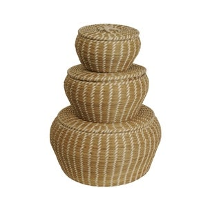 Seagrass Containers with Lids (Set of 3)