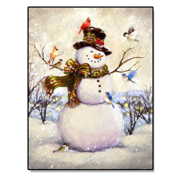 'Top Hat Snowman' Lighted Canvas Art