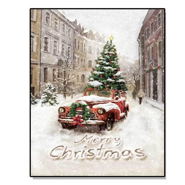 'Vintage Christmas Tree Car' Lighted Canvas Art