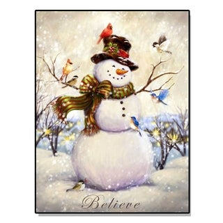 'Believe Snowman' Lighted Canvas Art