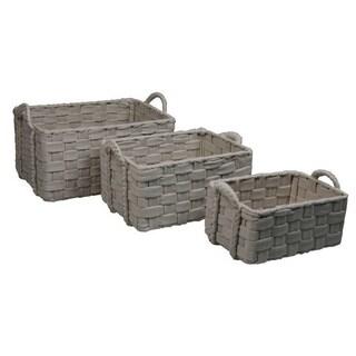 Natural Beige Wool Felt Baskets (Set of 3)