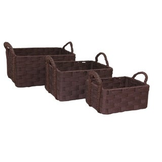 Wool Felt Baskets in Chocolate (Set of 3)