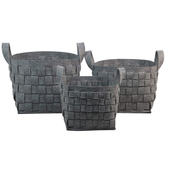 Grey Thick Weave Storage Containers (Set of 3)