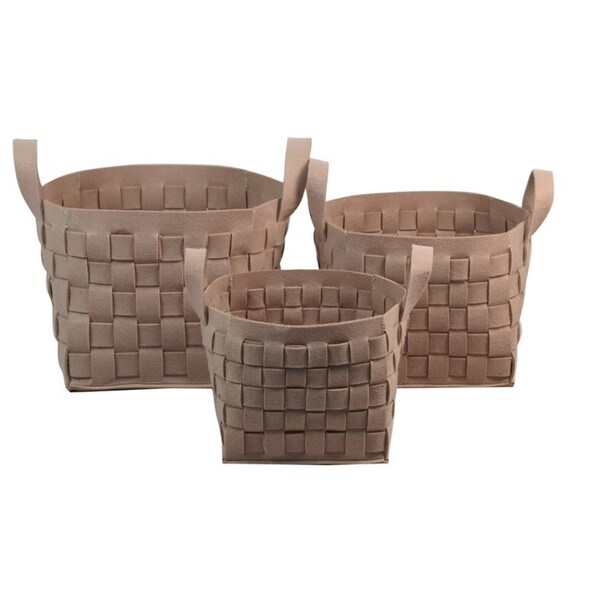 Ecru Woven Thick Wool Felt Containers (Set of 3)