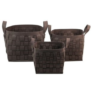 Chocolate Thick Woven Felt Storage Containers (Set of 3)
