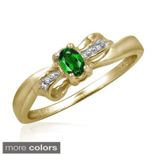 Chrome Diopside Gemstone and Accent White Diamond Bow Ring