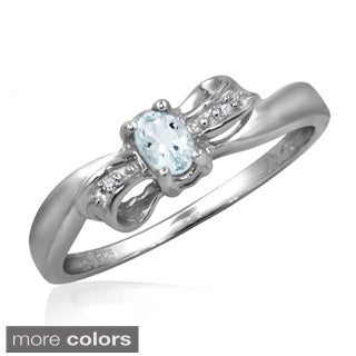 Aquamarine Gemstone and Accent White Diamond Bow Ring