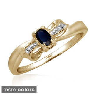 Sapphire Gemstone and Accent White Diamond Bow Ring