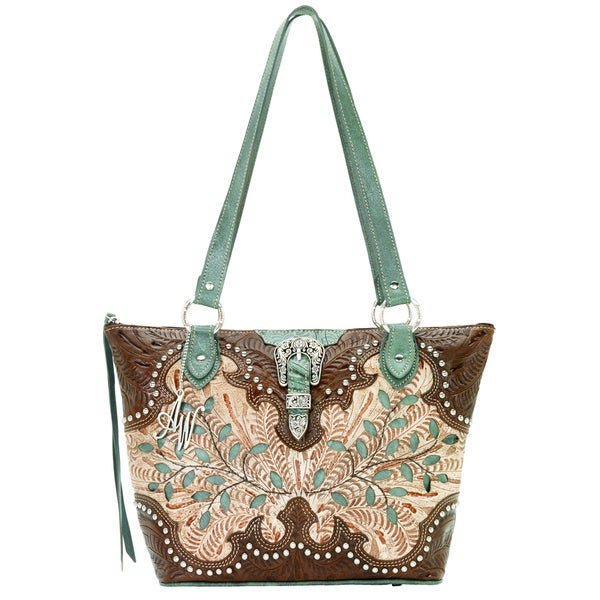 American West Cream/ Earth/ Turquoise Zip-Top Bucket Tote