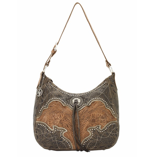 American West Distressed Charcoal Brown/ Golden Tan/ Cream Zip-Top Structured Hobo Bag