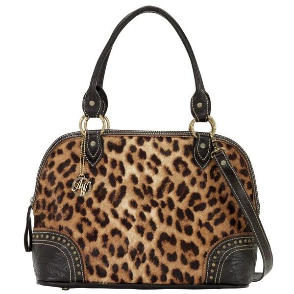 American West Chocolate/ Leopard Hair Zip-Around Satchel Handbag