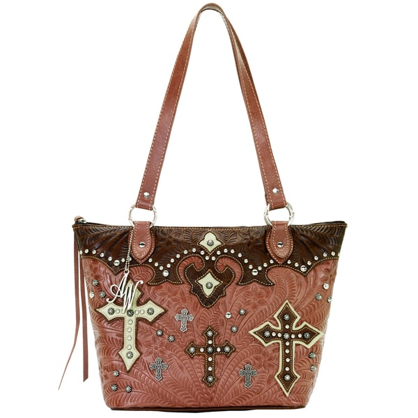 American West Rose/ Earth/ Cream Zip-Top Bucket tote