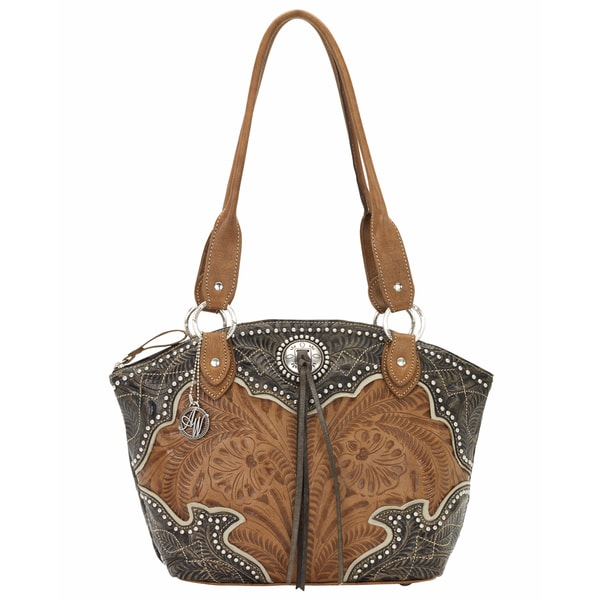 American West Distressed Charcoal Brown/ Golden Tan/ Cream Zip-top Bucket Tote