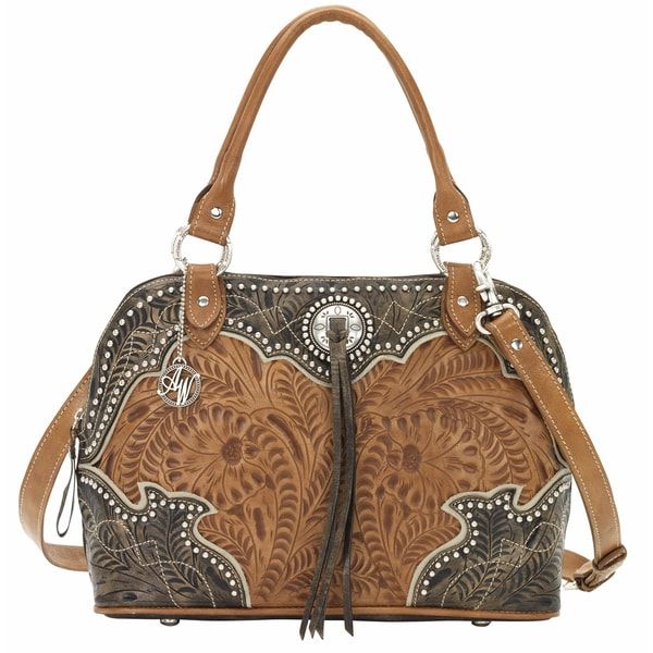 American West Distressed Charcoal Brown/ Golden Tan/ Cream Satchel