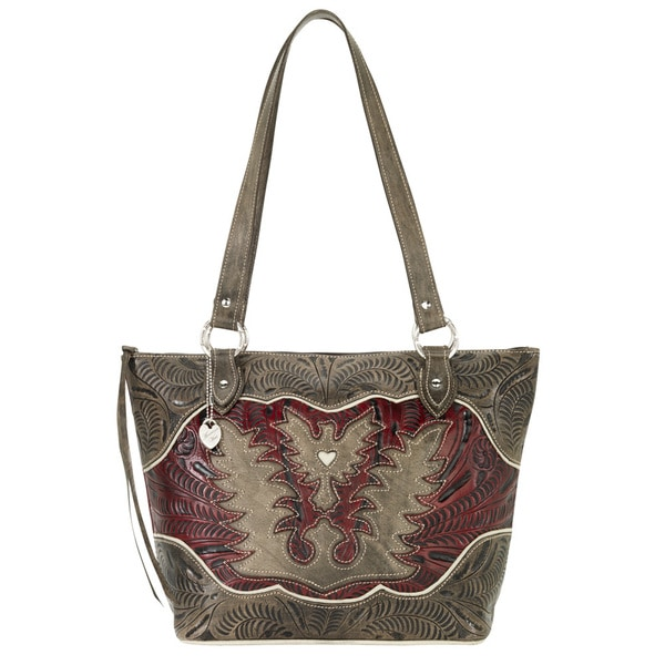American West Distressed Charcoal Brown/ Distressed Crimson/ Cream Zip-top Bucket Tote