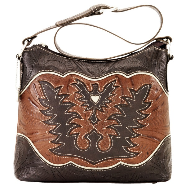 American West Distressed Chocolate/ Tan/ Cream Zip Top Shoulder Bag