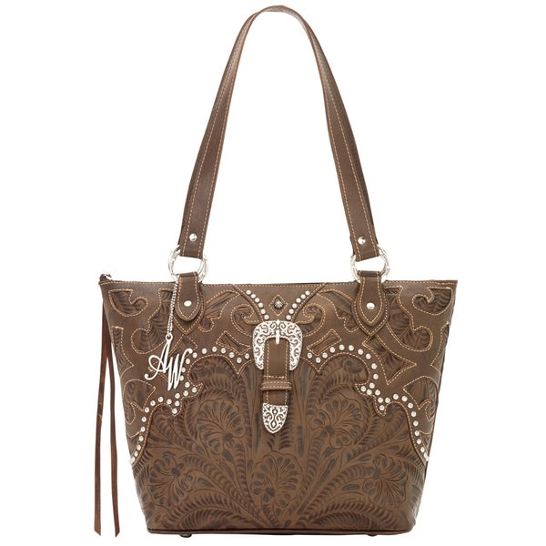American West Earth Brown Zip-top Bucket Tote
