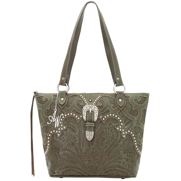 American West Olive Green Zip-top Tote Bucket Bag