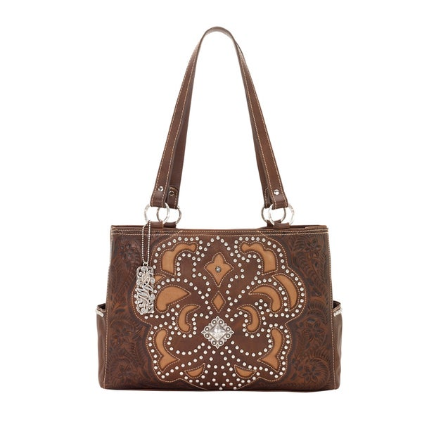 American West Chestnut Brown/ Golden Tan Large Shopper Tote