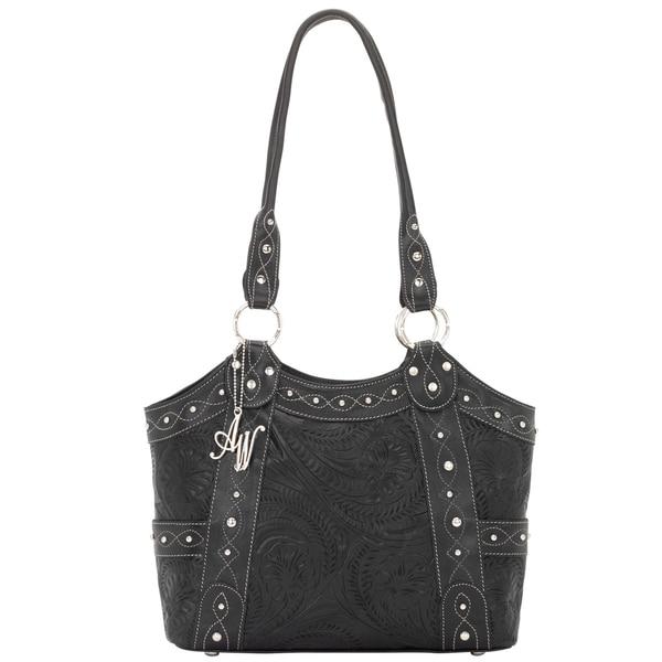American West Black Zip top Tote Bag