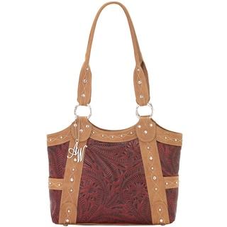 American West Tan/ Pomegranate Zip-top Tote Bag