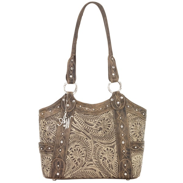 American West Distressed Charcoal Brown/ Stone Zip-top Tote
