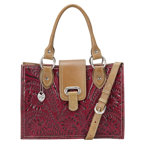 American West Pomegranate/ Tan Tote Bag