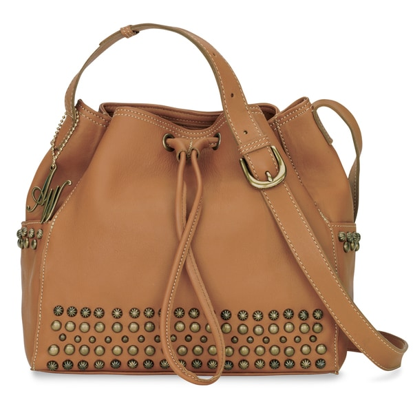 American West Golden Tan Crossbody Bucket Bag